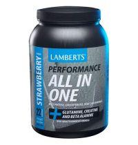 Lamberts All in One Eiwitten Aardbei 1450 gram gezondheidswebwinkel