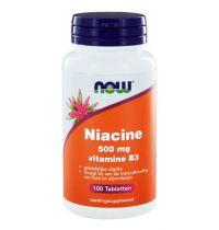 NOW Niacine 500 mg vitamine B3 geleidelijke afgifte 100 tabletten gezondheidswebwinkel