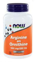 NOW Arginine en Ornithine 500/250 mg 100 capsules gezondheidswebwinkel