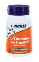 NOW L-Theanine 200 mg met Inositol 100 mg 60 Vegi Capsules gezondheidswebwinkel